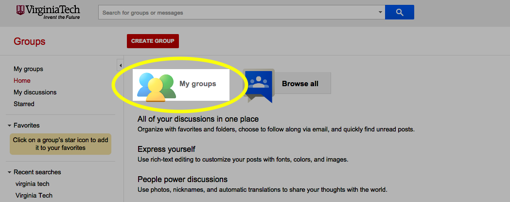 Click the My Groups button.