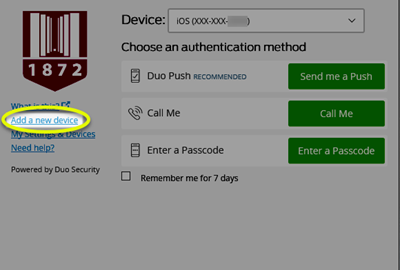 Image of the Add a new device link highlighted under the VT shield symbol in the left column