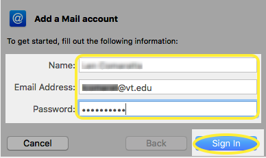 Image of the Name, Email Address, and Password text boxes
