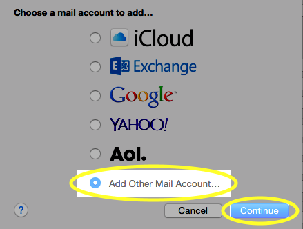 Select Add other mail account, and click Continue.