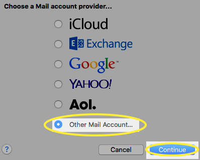 Image of the Other Mail Account radio button