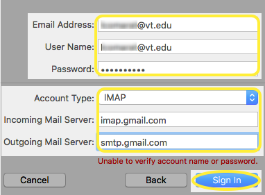 Image of the Account Type, Incoming Mail Server, and Outgoing Mail Server text boxes