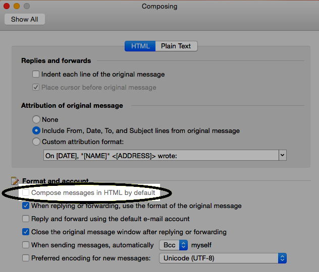 Clear the Compose messages in HTML by default check box.