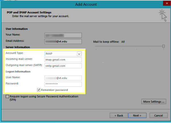 Image of the Account Type, Incoming mail server, Outgoing mail server, User Name, and Password text boxes