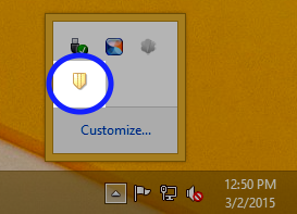 Double-click the Endpoint Protection icon, depicted by a yellow shield.