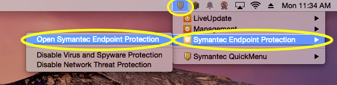 Click the Symantec QuickMenu icon, depicted by a yellow shield, in the upper-right corner of your screen.