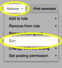 From the Actions drop-down list, select Ban.