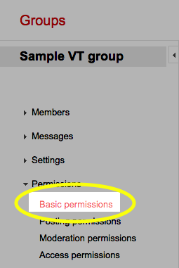In the left pane, under Permissions, click the Basic permissions link.