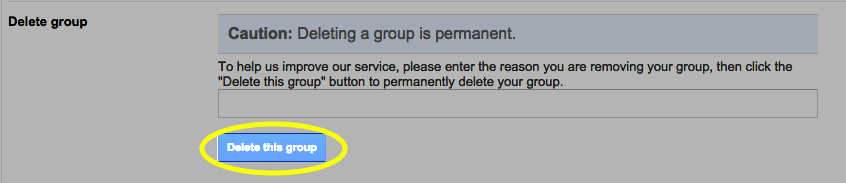 Click the Delete this group button.