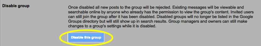Click the Disable this group button.