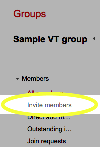 In the left pane, under Members, click the Invite Members link.