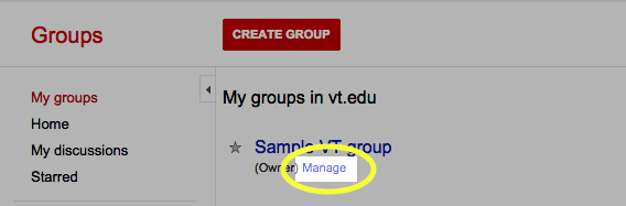 Under the link to your group, click the Manage link.