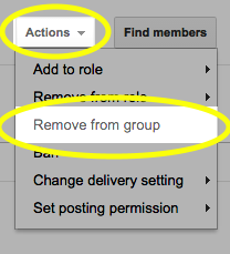 From the Actions drop-down list, select Remove from group.