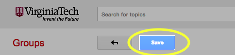 Image of the Save button in Google Groups under the search box.