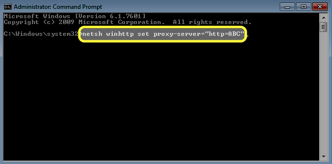 "At the command prompt, type: netsh winhttp set proxy-server=""http=ABC"". Replace ABC with the name or address of your proxy server."