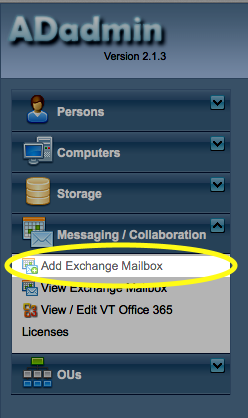 Click the Add Exchange Mailbox link.