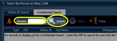 Image of the Person text box and Search button highlighted in the ADadmin Confidential Search window