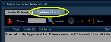 Image of the Confidential Search tab highlighted, which is to the right of the Hokies ID Search tab