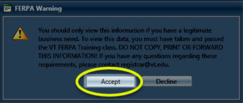 Image of the warning about FERPA regulations in the dialog box with the Accept button highlighted