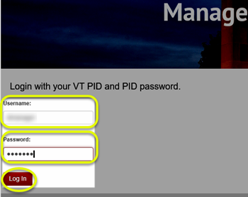 Image of the Login page with the Username, Password, and Log In button highlighted