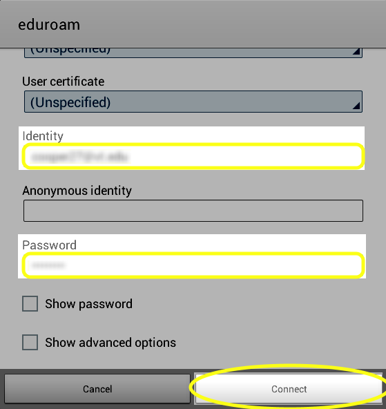 Enter credentials and tap Connect.