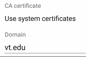Image of the CA certificate drop-down and the Domain text box in Android 7 wireless settings.