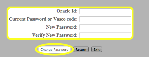 Enter your credentials and a new Banner password.