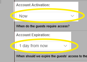 Image of the Account Activation and Account Expiration drop-down lists