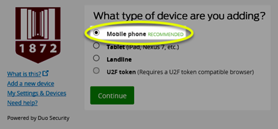 Image of the Mobile phone recommended radio button selected at the top of the selections, and highlighted