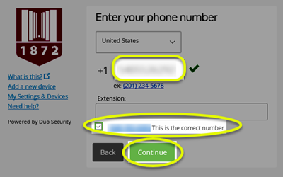 Image of the Duo iframe with a phone number typed into the text box, the check box checked, and both of those along with the Continue button highlighted