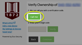Image of the Call me button highlighted on the Duo iframe