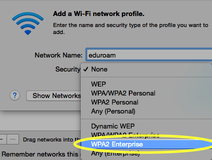 From the Security drop-down list, select WPA2 Enterprise.