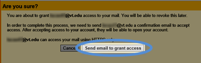 Image of the Send email to grant access button