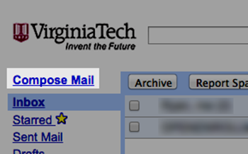 The Compose Mail link in VT Google Apps Mail, basic view.