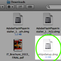 In Finder for Mac, double-click vtVpnSetup.dmg.