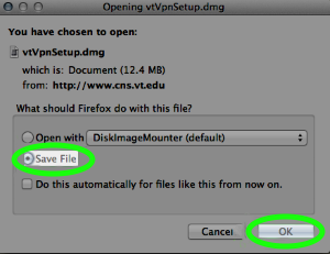 In Firefox for Mac, choose to save the file.