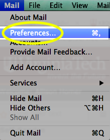 From the Mail drop-down list, select Preferences...
