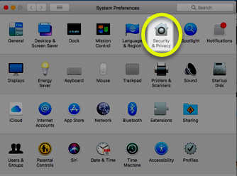 Image of the Security & Privacy icon in System Preferences