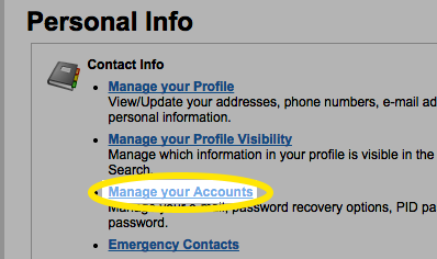 Click the Manage your accounts link.