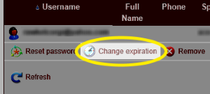 Image of the Chagne expiration link highlighted