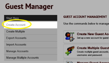 Image of the Create Account link in the menu