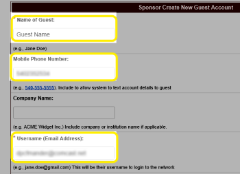 Image of the Name of Guest, Mobile Phone Number, and Username text boxes