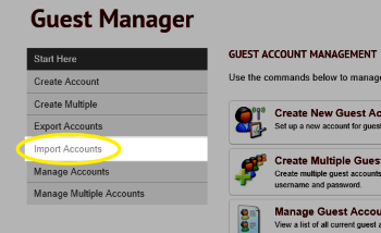 Image of the Import Accounts link highlighted in the menu