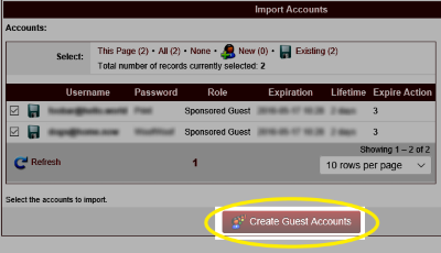 Image of the Create Guest Accounts button highlighted