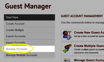 Image of Manage Accounts highlighted in the menu