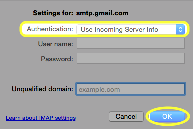 From the drop-down list, select Use Incoming Server Info.