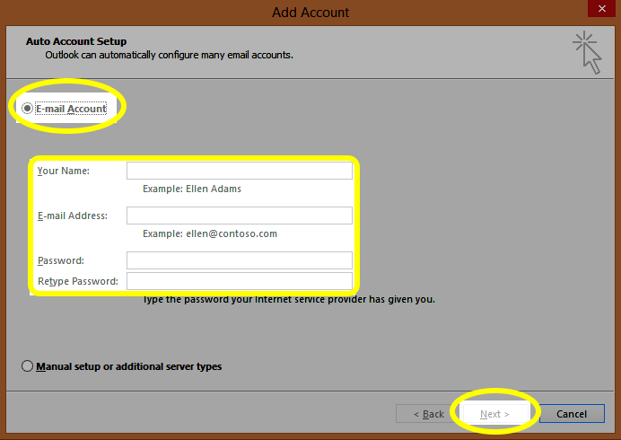Enter the appropriate information and then click the Next button.
