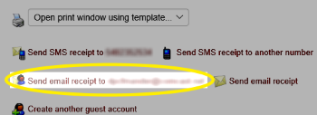 Image of the Send email receipt link