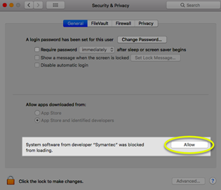 Image of the Allow button in the Security General settings.