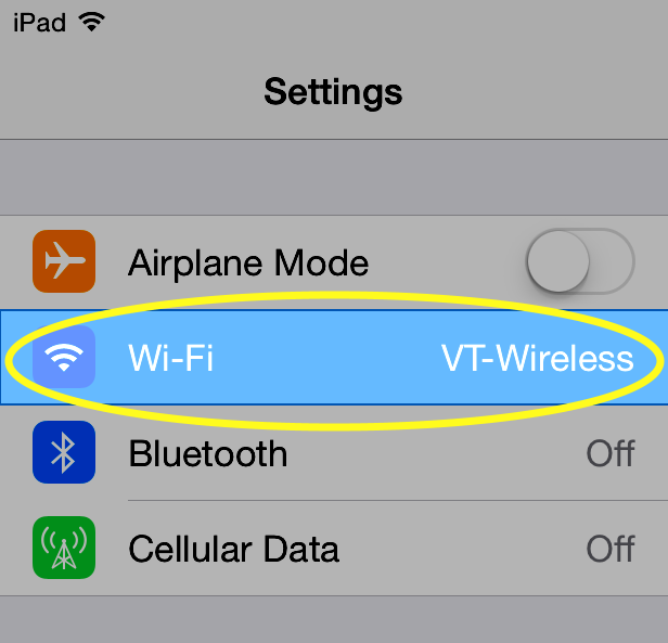 Image of under settings, tap Wi-Fi.